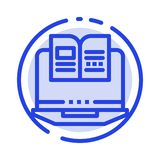 Laptop, Computer, Book, Hardware Blue Dotted Line Line Icon royalty free illustration