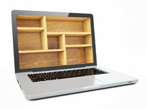Laptop Computer Bookcase Emptu isolated on White Background Stock Photography