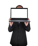 Laptop Computer Business Man on White Royalty Free Stock Photography