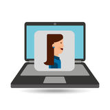 Laptop computer character girl graphic Royalty Free Stock Images
