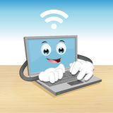 Laptop-Computer Charakter Lizenzfreie Stockbilder