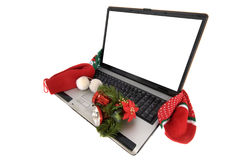 Laptop computer in christmas Stock Photo