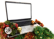 Laptop computer in christmas Stock Images
