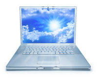 Laptop Computer Cloud Computing. A laptop computer with sky and clouds on the screen. Isolated on white Stock Image