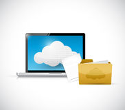 Laptop computer cloud computing and files Royalty Free Stock Images
