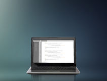 Laptop computer with coding on screen Stock Images