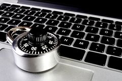 Laptop computer with combination lock Stock Photo