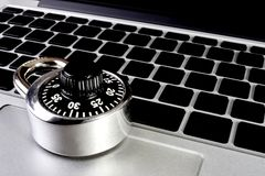 Laptop computer with combination lock Stock Photos