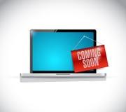 Laptop computer coming soon Royalty Free Stock Photos