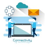 Laptop computer with connectivity 5g tech. Vector illustration design stock illustration