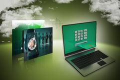 Laptop computer with a credit card, online payment concept Stock Image