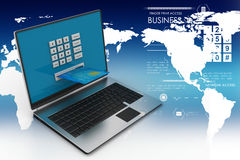 Laptop computer with a credit card, online payment concept Stock Photo