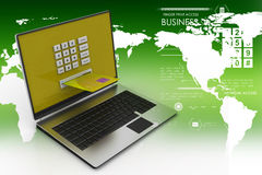 Laptop computer with a credit card, online payment concept Stock Photography