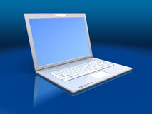 Laptop computer. 3d illustration of laptop computer over blue background Stock Photography