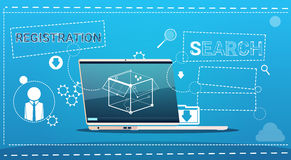 Laptop Computer Data Search Registration Concept Royalty Free Stock Photo