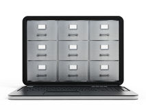 Laptop computer data storage concept. File cabinets inside the screen of laptop computer Royalty Free Stock Photo
