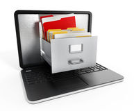 Laptop computer data storage concept. File cabinets inside the screen of laptop computer Royalty Free Stock Photography
