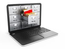 Laptop computer data storage concept. File cabinets inside the screen of laptop computer Stock Photo