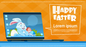 Laptop Computer Decorated Colorful Eggs Rabbit Easter Holiday Symbols Greeting Card Stock Photos