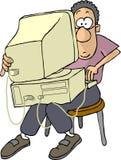 Laptop-Computer des armen Mannes lizenzfreie abbildung