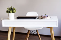 Laptop computer  on a desk in office Royalty Free Stock Photo