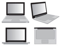 Laptop Computer in Different Perspective Views Vector Illustrati Royalty Free Stock Image