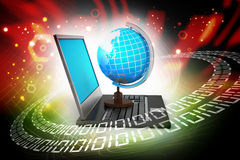 Laptop computer with earth globe. In color background Stock Photos
