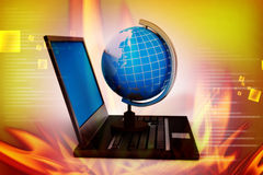 Laptop computer with earth globe. In color background Royalty Free Stock Photo
