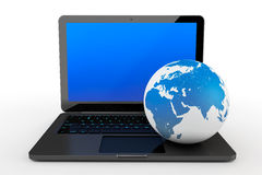 Laptop computer with Earth Globe. On a white background Royalty Free Stock Photo