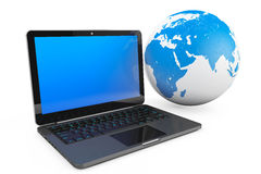 Laptop computer with Earth Globe Stock Images