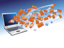 Laptop computer with email correspondence backgrou Royalty Free Stock Photo