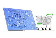 Laptop computer en bedrijfsdiagram Stock Foto's