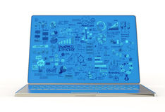 Laptop computer en bedrijfsdiagram Stock Fotografie