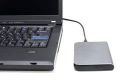 Laptop Computer en Externe Harde Aandrijving Royalty-vrije Stock Afbeeldingen