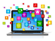 Laptop Computer en vliegende apps pictogrammen Stock Afbeeldingen