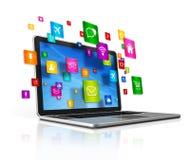 Laptop Computer en vliegende apps pictogrammen op een witte achtergrond Royalty-vrije Stock Afbeeldingen
