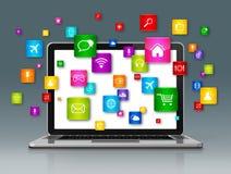 Laptop Computer en vliegende apps pictogrammen op grijs Stock Fotografie