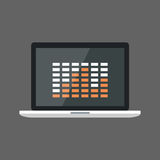 Laptop Computer With Equalizer Icon Sound Studio Equipment Stock Photography