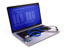 Laptop computer  with error message and stethoscope Royalty Free Stock Image