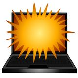 Laptop Computer Exploding Text Stock Image