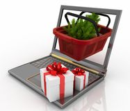 Laptop computer with festive shopping  basket. Concept of Christmas online shopping. 3d illustration. Laptop computer with festive shopping  basket on white Royalty Free Stock Images