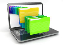Laptop and computer files in folders. Laptop and computer files in folders on white background. 3d stock illustration