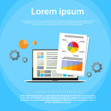 Laptop Computer Finance Chart Infographics Web Royalty Free Stock Image
