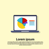 Laptop Computer With Financial Graph Pie Diagram. Flat Vector Illustration Royalty Free Stock Photography