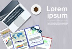 Laptop Computer And Financial Reports At Workplace Top. Angle View Concept Office Desk Document Folders Banner With Copy Space Flat Vector Illustration Royalty Free Stock Images