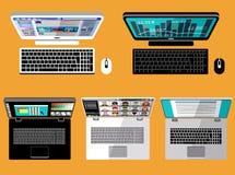 Laptop and computer. Flat lay Screen. Vector Royalty Free Stock Photos