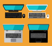 Laptop and computer. Flat lay. Screen. Vector Stock Images