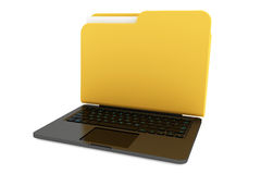 Laptop computer with folder as screen Royalty Free Stock Images