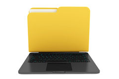 Laptop computer with folder as screen Stock Photography