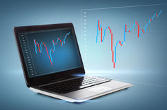 Laptop computer with forex chart on desktop Stock Photography